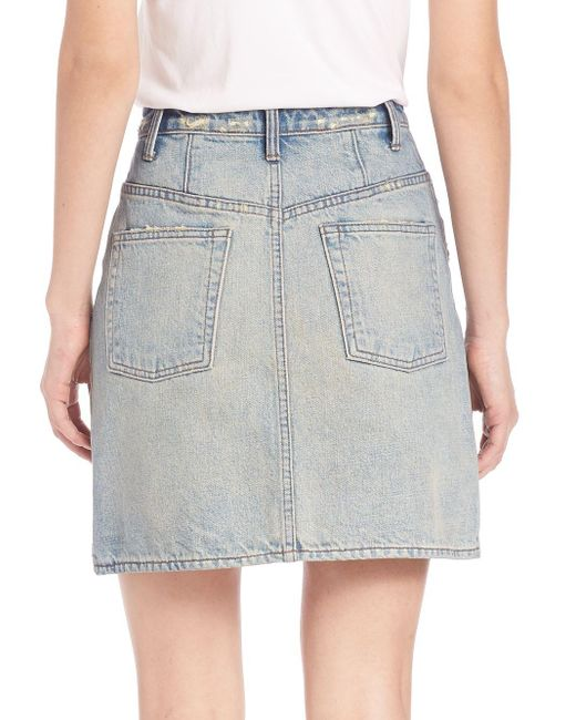 Helmut lang Faded Denim Skirt in Blue - Save 30% | Lyst