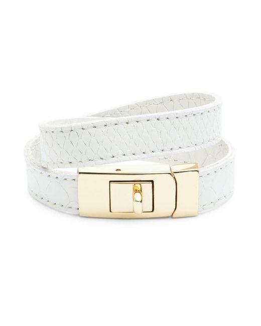 CC SKYE   White The Porto Leather Wrap Bracelet   Lyst