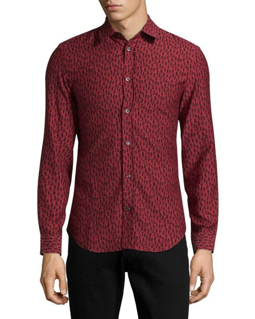 Maison Margiela | Red Printed Casual Button-down Shirt for Men | Lyst