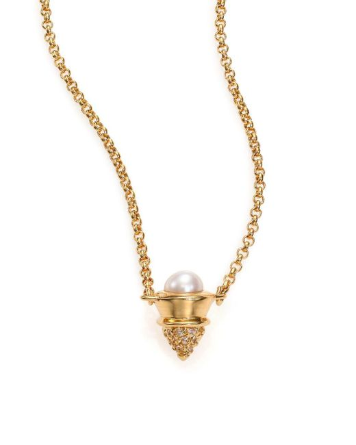Eddie Borgo | Metallic 4mm White Mabe Pearl & Pavé Crystal Cone Pendant Necklace | Lyst