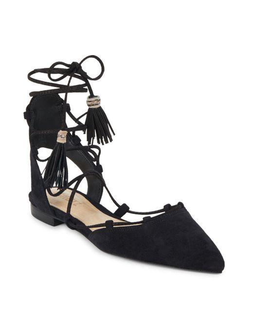 Schutz | Black Billie Tasseled Lace-up Flats | Lyst