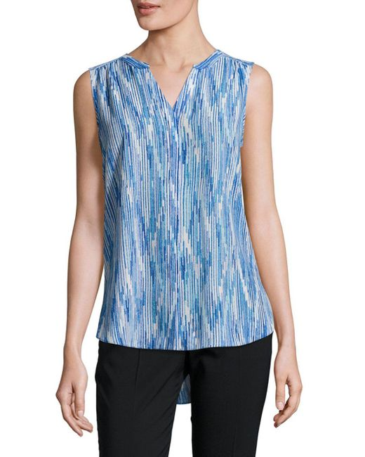 NYDJ | Blue Sleeveless Pintuck Top | Lyst