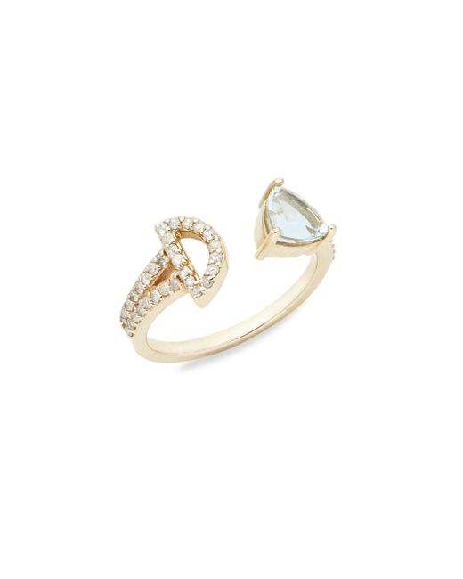 Paige Novick   Metallic Marta Diamond, Aquamarine & 14k Yellow Gold Ring   Lyst