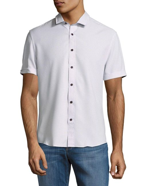 Vince Camuto | Blue Short-sleeve Button-down Shirt for Men | Lyst