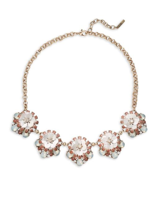 Saks Fifth Avenue | Metallic Clear Crystals Floral Necklace | Lyst