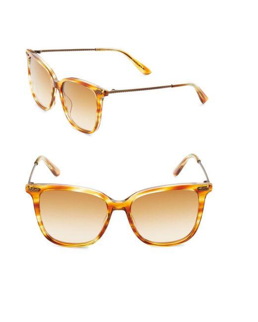 Bottega Veneta | Orange Bottega Veneta Textured Temple 53mm Wayfarer Sunglasses | Lyst