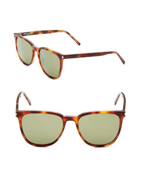 Saint Laurent   Brown 54mm Tortoise Rounded Square Sunglasses for Men   Lyst