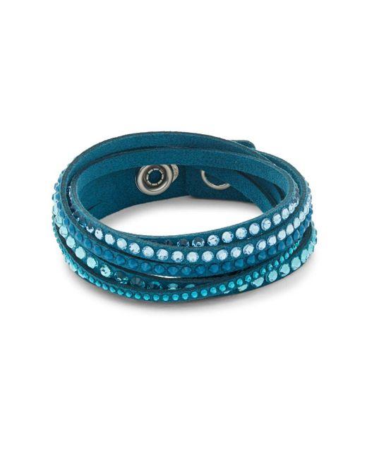 Swarovski | Blue Crystals Wrap Bracelet | Lyst