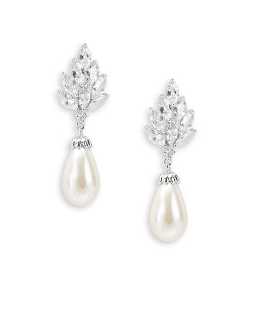 Saks Fifth Avenue | Multicolor 12mm Faux Pearl, Cubic Zirconia And Silvertone Classic Drop Earrings | Lyst