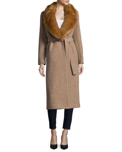 Helmut Lang | Natural Faux Fur-trimmed Wool Coat | Lyst