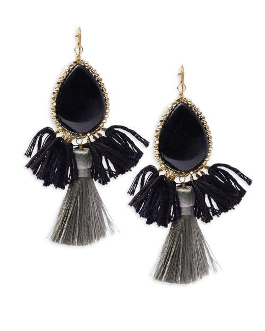Panacea | Black Fringe Drop Earrings | Lyst