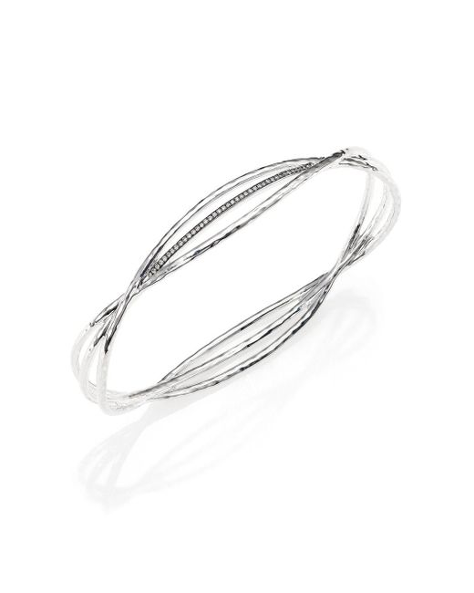 Ippolita | Metallic Stella Diamond & Sterling Silver Crisscross Wire Bangle Bracelet | Lyst