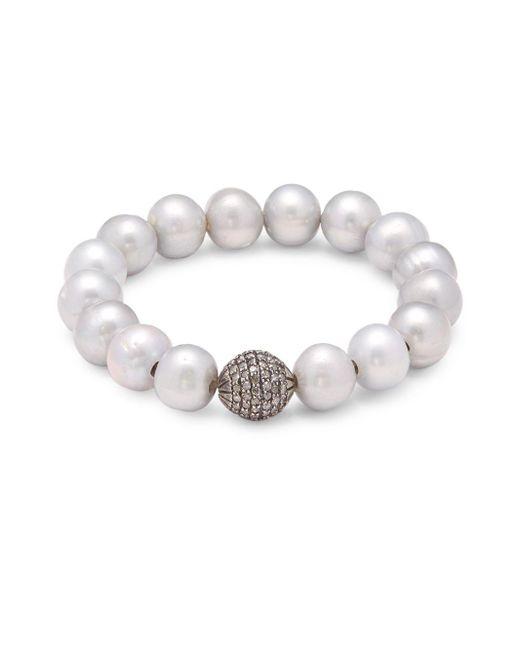 Bavna   White 12mm Grey Pearl, Champagne Diamond & Sterling Silver Stretchy Pave Bracelet   Lyst