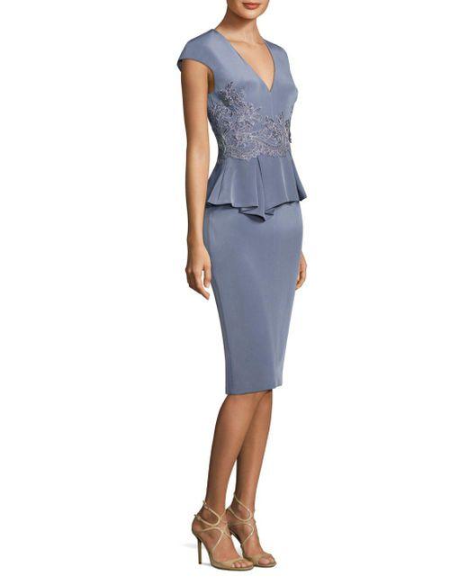 THEIA | Blue Stretch-silk Peplum Sheath Dress | Lyst