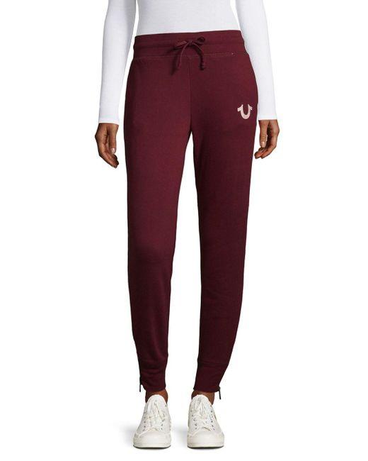 True Religion   Purple Zippered Jogger Pants   Lyst