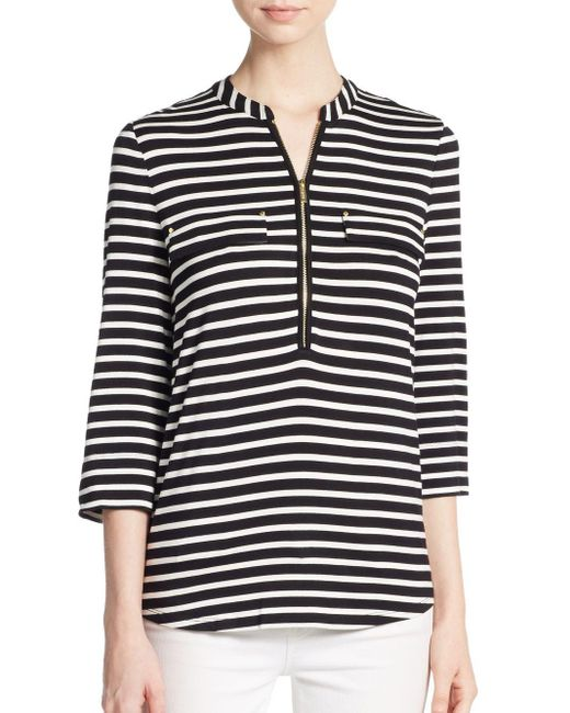 Calvin Klein | Black Striped Zip-neck Top | Lyst