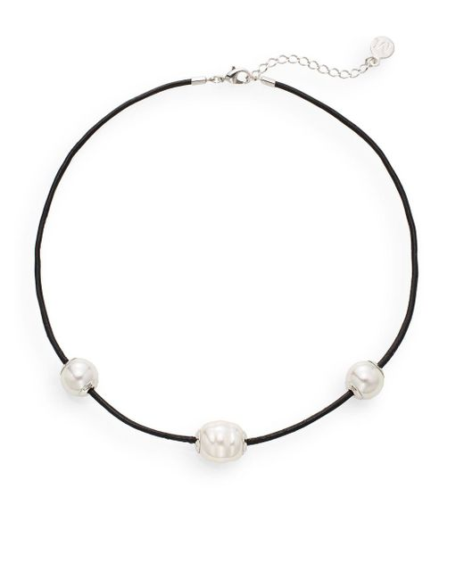 Majorica | Black 14mm White Round Pearl & Leather Necklace | Lyst