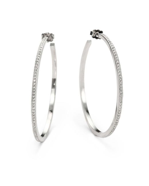 Adriana Orsini | Metallic Pavà Hoop Earrings/2"