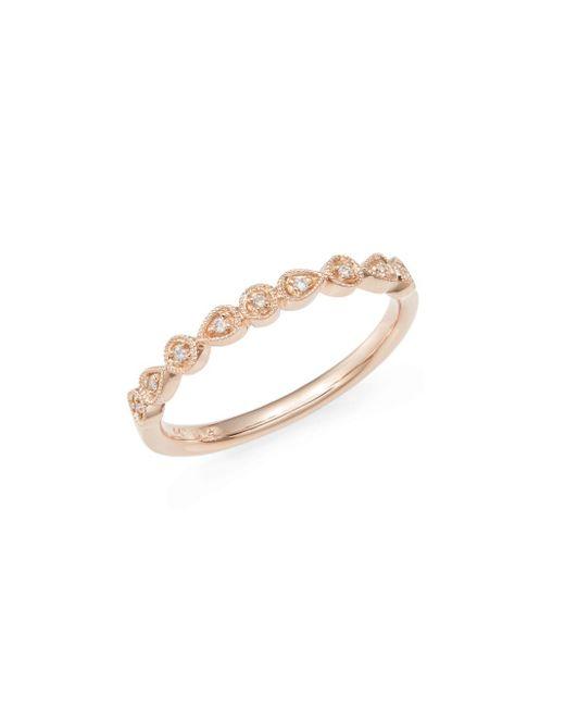 Saks Fifth Avenue | Metallic Diamond & 14k Rose Gold Teardrop Band Ring | Lyst
