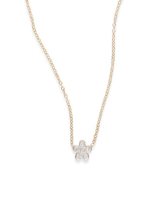 Kacey K Fine Jewelry | Metallic Diamond & 14k Gold Flower Necklace | Lyst