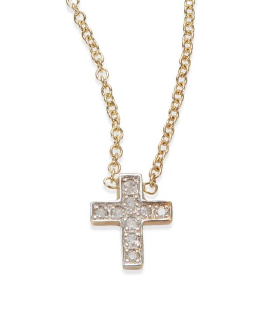 Kacey K Fine Jewelry | Metallic Diamond & 14k Gold Cross Necklace | Lyst