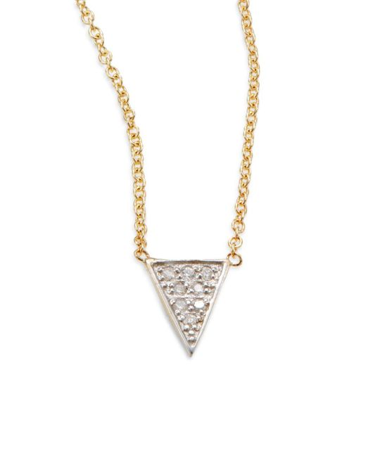 Kacey K | Metallic Diamond & 14k Gold Single Triangle Necklace | Lyst