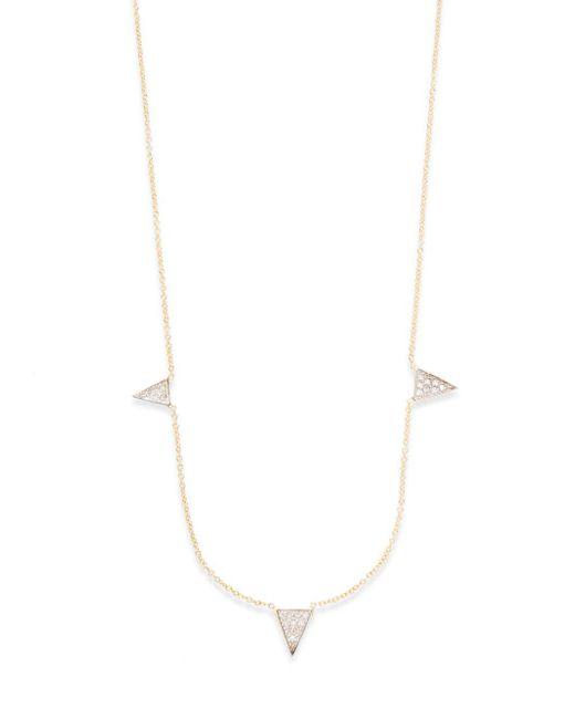 Kacey K | Metallic Diamond & 14k Gold Triangle Necklace | Lyst
