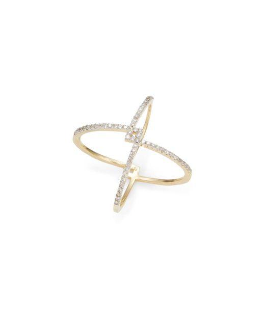 Kacey K Fine Jewelry | Metallic Diamond & 14k Gold X Ring | Lyst
