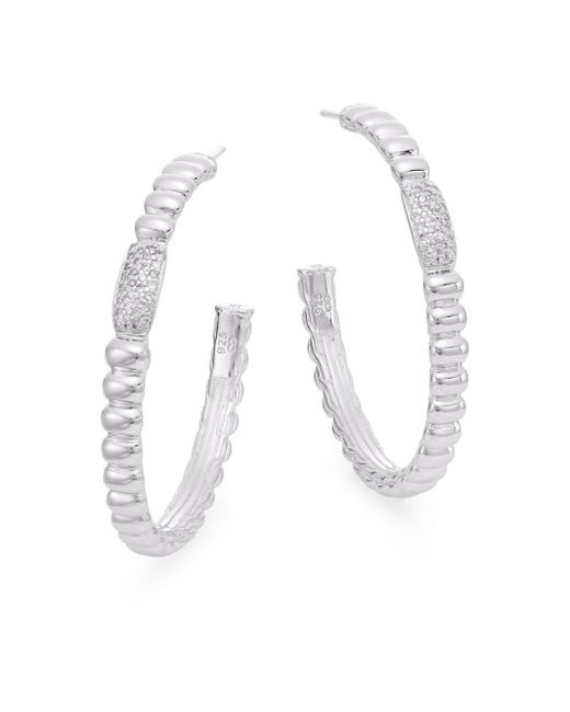 John Hardy | Metallic Bedeg 0.30 Tcw Diamond & Sterling Silver Hoop Earrings/1.5"