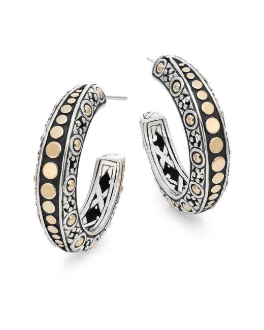John Hardy   Metallic Dot 18k Yellow Gold & Sterling Silver Gypsy Hoop Earrings   Lyst