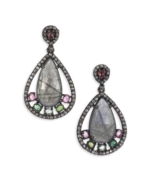Bavna | Metallic Diamond, Labradorite, Tourmaline & Sterling Silver Drop Earrings | Lyst