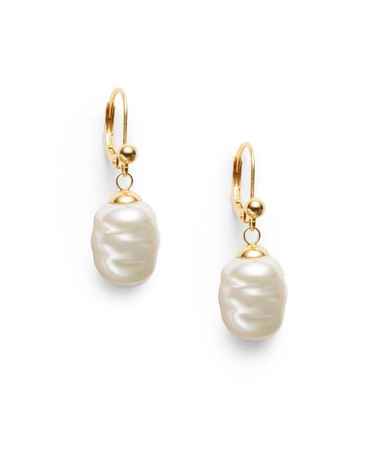 Majorica | White 10mm Baroque Pearl & 18k Gold Vermeil Earrings | Lyst