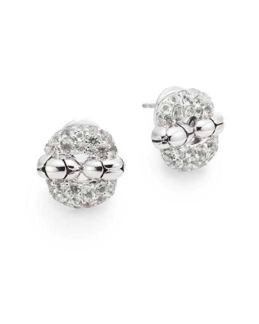 John Hardy   Metallic White Topaz & Sterling Silver Small Rectangular Earrings   Lyst