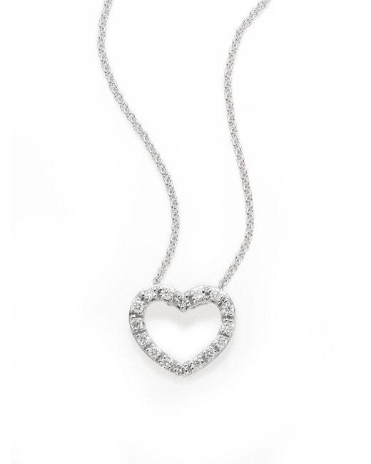 Saks Fifth Avenue | Metallic Diamond & 14k White Gold Open Heart Pendant Necklace | Lyst