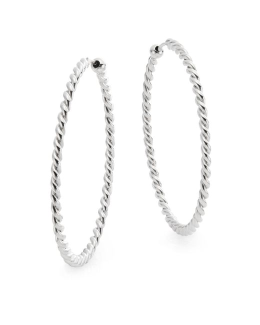 Saks Fifth Avenue | Metallic Sterling Silver Twist Hoop Earrings/1.5"