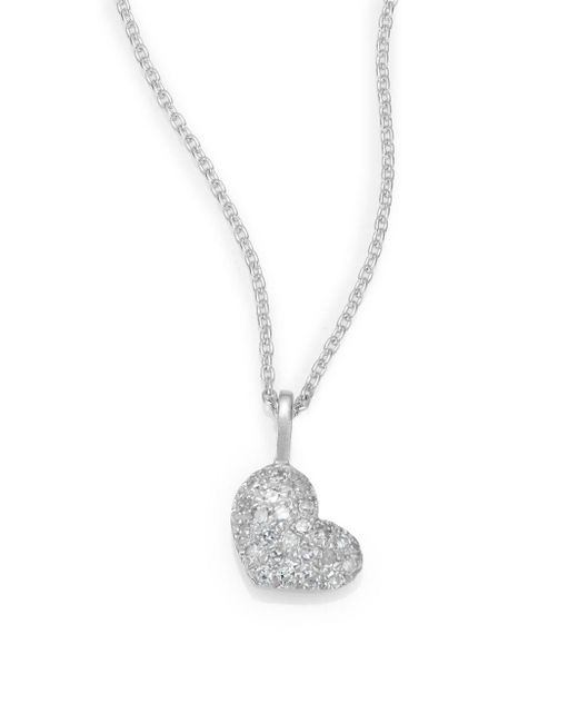 Saks Fifth Avenue | Diamond & 14k White Gold Heart Necklace | Lyst