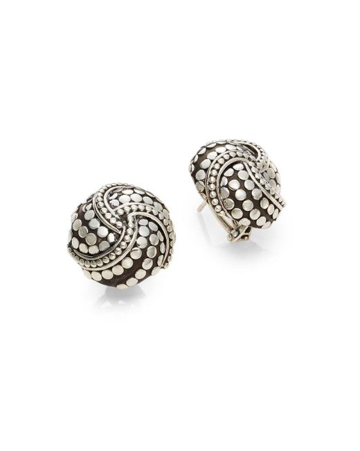John Hardy | Metallic Dot Sterling Silver Button Earrings | Lyst