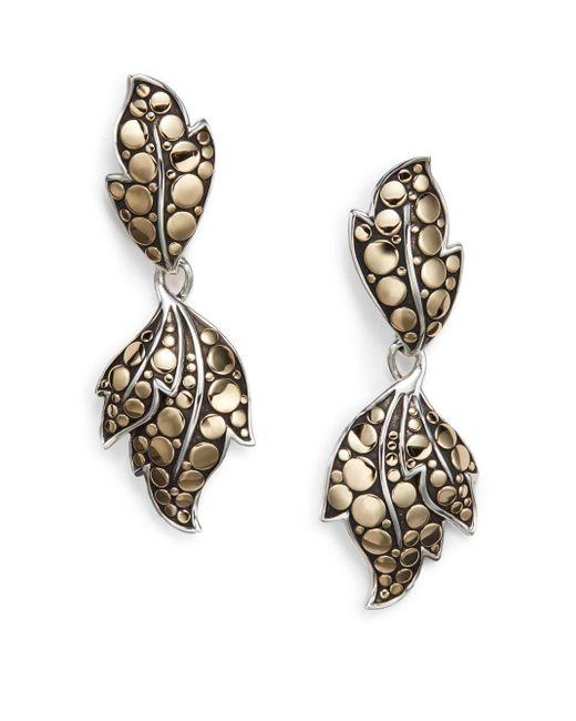 John Hardy   Metallic Dot Ayu Sterling Silver & 18k Yellow Gold Leaf Drop Earrings   Lyst