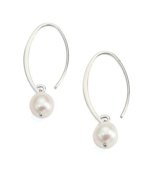 Saks Fifth Avenue | Metallic 9mm Freshwater White Pearl & Sterling Silver Arc Earrings | Lyst