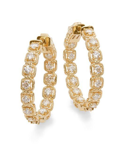 Saks Fifth Avenue | Metallic Diamond & 14k Yellow Gold Hoop Earrings | Lyst