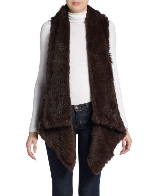 Saks Fifth Avenue   Brown Asymmetrical Rabbit Fur Vest   Lyst