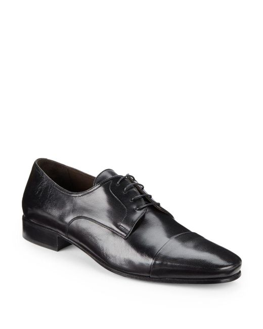 Bruno Magli | Black Martico Leather Cap-toe Dress Shoes - Available In Extended Sizes | Lyst