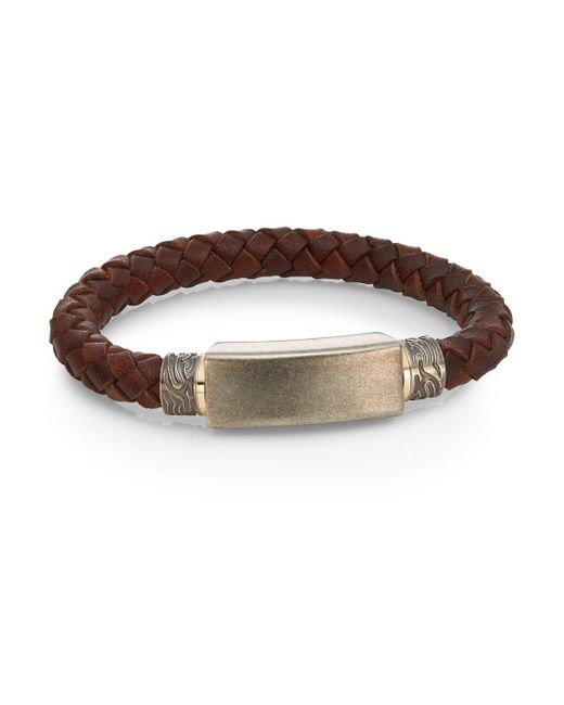 Saks Fifth Avenue | Brown Stainless Steel & Leather Cord Bracelet | Lyst