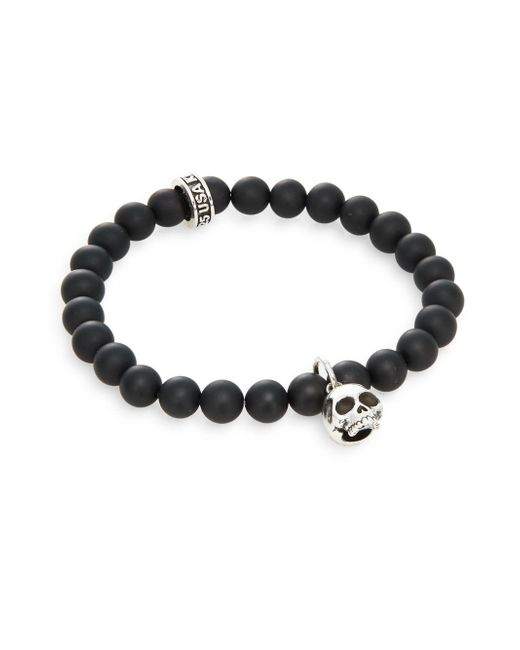 King Baby Studio | Black Onyx & Sterling Silver Beaded Skull Charm Bracelet for Men | Lyst