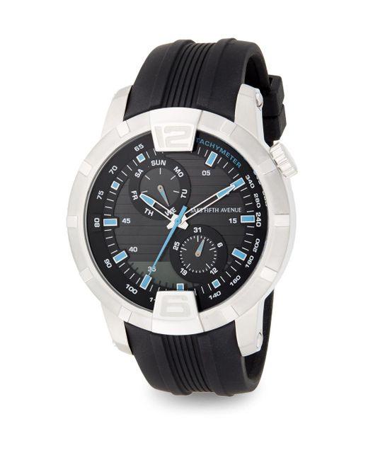 Saks Fifth Avenue | Metallic Stainless Steel & Rubber Multi-function Watch | Lyst