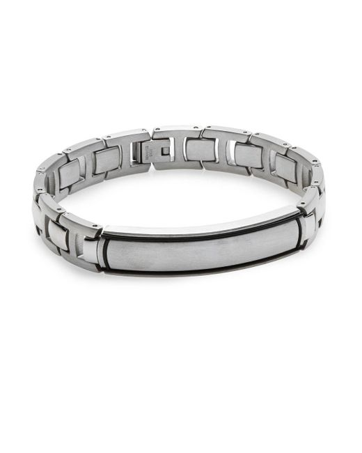 Saks Fifth Avenue | Metallic Stainless Steel & Titanium Link Bracelet for Men | Lyst