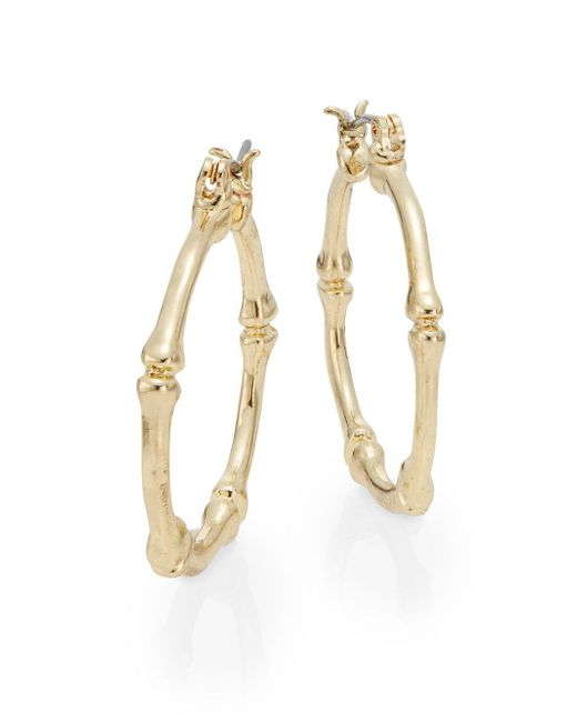 Ak Anne Klein | Metallic Bamboo Hoop Earrings/goldtone | Lyst