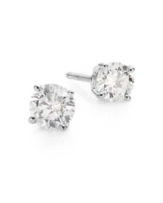 Saks Fifth Avenue | 0.5 Tcw Diamond & 18k White Gold Stud Earrings | Lyst