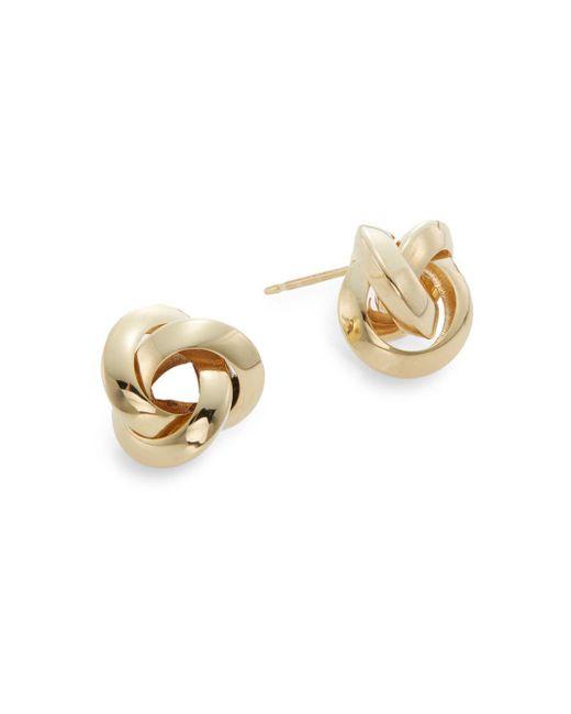 Saks Fifth Avenue - Metallic 14k Yellow Gold Knot Stud Earrings - Lyst