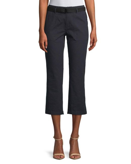 Vince - Blue Belted Flared Cropped Pants - Lyst